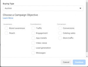 Facebook 11 types of ads category